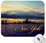 New York Skyline with Clipper Ship Mousepad