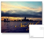 New York Skyline at Sunset with Clipper Ship Postcard