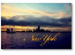 New York Skyline at Sunset with Clipper Ship Poster