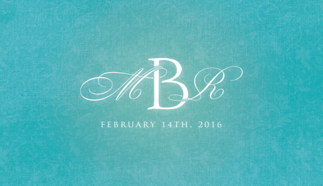 Elaborate initials intertwine with a strong monogram in this classic, elegant wedding logo.