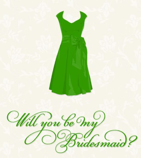 "Emerald Green and Cream ""Will you be my Bridesmaid?"" Greeting Card"