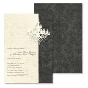 Black & Cream Gothic Chandelier Damask Wedding Invitation