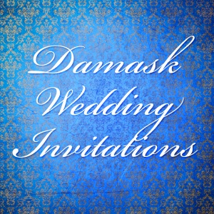 Blue and Gold Damask Wedding Invitations Background