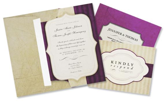 Ivory Aubergine Wedding Invitation, RSVP, and Envelopes