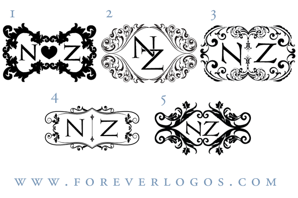 First round of ideas for Nicole's sophisticated rustic wedding logo