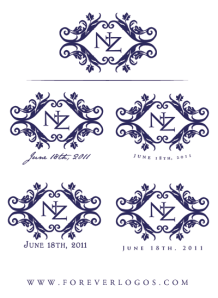 Fourth round of ideas for Nicole's sophisticated rustic wedding logo.