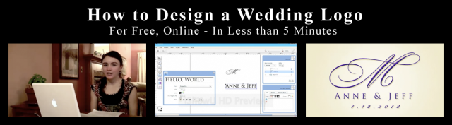 "Video stills from the instructional video ""How to Design a Wedding Logo"" on youtube. From Forever Logos."