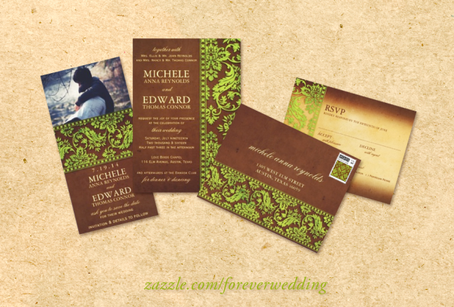 Green & Brown Damask Nature-Inspired Wedding Invitations