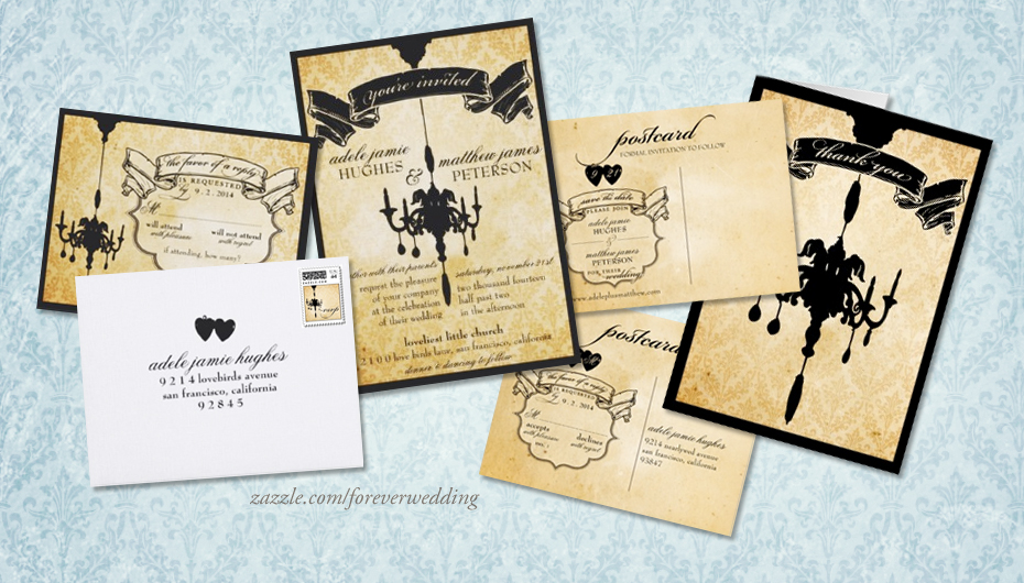 Victorian Chandelier Damask Wedding Invitation Set